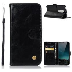 Luxury Retro Leather Wallet Case for Nokia 6.1 Plus (Nokia X6) - Black