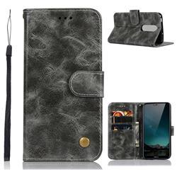 Luxury Retro Leather Wallet Case for Nokia 6.1 Plus (Nokia X6) - Gray