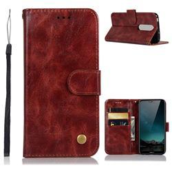 Luxury Retro Leather Wallet Case for Nokia 6.1 Plus (Nokia X6) - Wine Red
