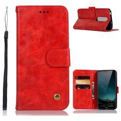 Luxury Retro Leather Wallet Case for Nokia 6.1 Plus (Nokia X6) - Red
