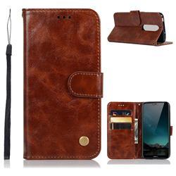 Luxury Retro Leather Wallet Case for Nokia 6.1 Plus (Nokia X6) - Brown
