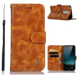Luxury Retro Leather Wallet Case for Nokia 6.1 Plus (Nokia X6) - Golden
