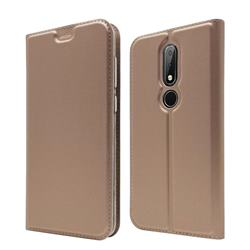 Ultra Slim Card Magnetic Automatic Suction Leather Wallet Case for Nokia 6.1 Plus (Nokia X6) - Rose Gold