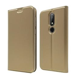 Ultra Slim Card Magnetic Automatic Suction Leather Wallet Case for Nokia 6.1 Plus (Nokia X6) - Champagne