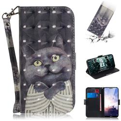 Cat Embrace 3D Painted Leather Wallet Phone Case for Nokia 6.1 Plus (Nokia X6)