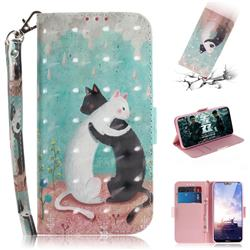 Black and White Cat 3D Painted Leather Wallet Phone Case for Nokia 6.1 Plus (Nokia X6)