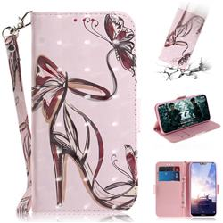 Butterfly High Heels 3D Painted Leather Wallet Phone Case for Nokia 6.1 Plus (Nokia X6)