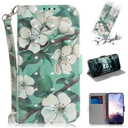 Watercolor Flower 3D Painted Leather Wallet Phone Case for Nokia 6.1 Plus (Nokia X6)