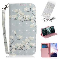 Magnolia Flower 3D Painted Leather Wallet Phone Case for Nokia 6.1 Plus (Nokia X6)