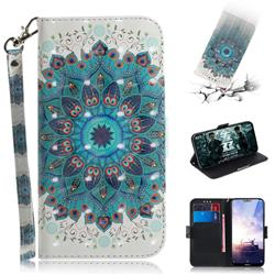 Peacock Mandala 3D Painted Leather Wallet Phone Case for Nokia 6.1 Plus (Nokia X6)