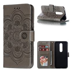 Intricate Embossing Datura Solar Leather Wallet Case for Nokia 6.1 Plus (Nokia X6) - Gray