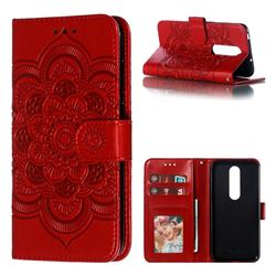 Intricate Embossing Datura Solar Leather Wallet Case for Nokia 6.1 Plus (Nokia X6) - Red