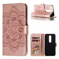 Intricate Embossing Datura Solar Leather Wallet Case for Nokia 6.1 Plus (Nokia X6) - Rose Gold