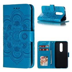 Intricate Embossing Datura Solar Leather Wallet Case for Nokia 6.1 Plus (Nokia X6) - Blue