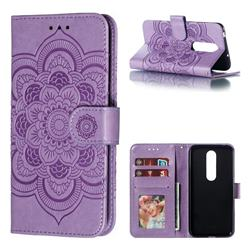 Intricate Embossing Datura Solar Leather Wallet Case for Nokia 6.1 Plus (Nokia X6) - Purple