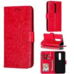 Intricate Embossing Lace Jasmine Flower Leather Wallet Case for Nokia 6.1 Plus (Nokia X6) - Red