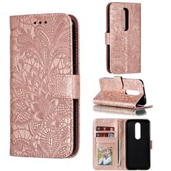 Intricate Embossing Lace Jasmine Flower Leather Wallet Case for Nokia 6.1 Plus (Nokia X6) - Rose Gold