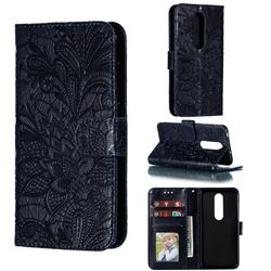 Intricate Embossing Lace Jasmine Flower Leather Wallet Case for Nokia 6.1 Plus (Nokia X6) - Dark Blue