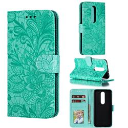 Intricate Embossing Lace Jasmine Flower Leather Wallet Case for Nokia 6.1 Plus (Nokia X6) - Green