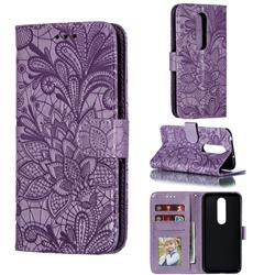 Intricate Embossing Lace Jasmine Flower Leather Wallet Case for Nokia 6.1 Plus (Nokia X6) - Purple