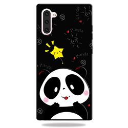 Cute Bear 3D Embossed Relief Black TPU Cell Phone Back Cover for Samsung Galaxy Note 10 (6.28 inch)