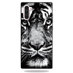 White Tiger 3D Embossed Relief Black TPU Cell Phone Back Cover for Samsung Galaxy Note 10 (6.28 inch) / Note10 5G