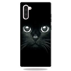 Bearded Feline 3D Embossed Relief Black TPU Cell Phone Back Cover for Samsung Galaxy Note 10 (6.28 inch) / Note10 5G