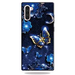 Phnom Penh Butterfly 3D Embossed Relief Black TPU Cell Phone Back Cover for Samsung Galaxy Note 10 (6.28 inch) / Note10 5G