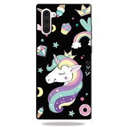 Candy Unicorn 3D Embossed Relief Black TPU Cell Phone Back Cover for Samsung Galaxy Note 10 (6.28 inch) / Note10 5G