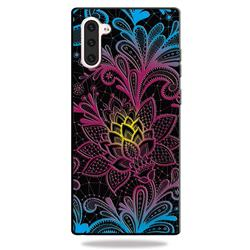 Colorful Lace 3D Embossed Relief Black TPU Cell Phone Back Cover for Samsung Galaxy Note 10 (6.28 inch) / Note10 5G