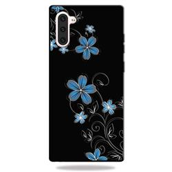 Little Blue Flowers 3D Embossed Relief Black TPU Cell Phone Back Cover for Samsung Galaxy Note 10 (6.28 inch)