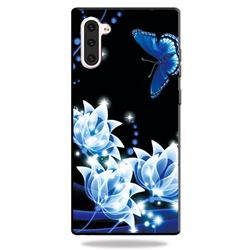 Blue Butterfly 3D Embossed Relief Black TPU Cell Phone Back Cover for Samsung Galaxy Note 10 (6.28 inch) / Note10 5G