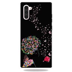 Corolla Girl 3D Embossed Relief Black TPU Cell Phone Back Cover for Samsung Galaxy Note 10 (6.28 inch)