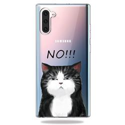 Cat Say No Clear Varnish Soft Phone Back Cover for Samsung Galaxy Note 10 (6.28 inch)