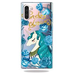 Blue Flower Unicorn Clear Varnish Soft Phone Back Cover for Samsung Galaxy Note 10 (6.28 inch)