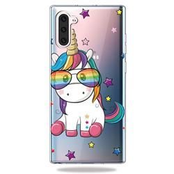 Glasses Unicorn Clear Varnish Soft Phone Back Cover for Samsung Galaxy Note 10 (6.28 inch) / Note10 5G