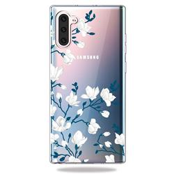 Magnolia Flower Clear Varnish Soft Phone Back Cover for Samsung Galaxy Note 10 (6.28 inch) / Note10 5G