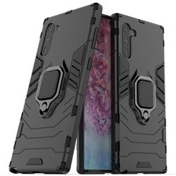 Black Panther Armor Metal Ring Grip Shockproof Dual Layer Rugged Hard Cover for Samsung Galaxy Note 10 (6.28 inch) / Note10 5G - Black