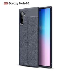 Luxury Auto Focus Litchi Texture Silicone TPU Back Cover for Samsung Galaxy Note 10 (6.28 inch) / Note10 5G - Dark Blue