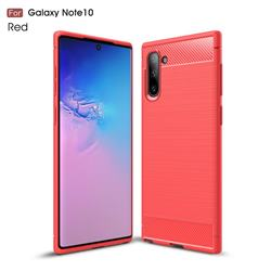 Luxury Carbon Fiber Brushed Wire Drawing Silicone TPU Back Cover for Samsung Galaxy Note 10 (6.28 inch) / Note10 5G - Red