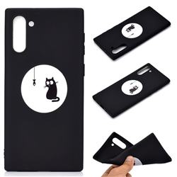 Fish Fishing Cat Chalk Drawing Matte Black TPU Phone Cover for Samsung Galaxy Note 10 (6.28 inch) / Note10 5G