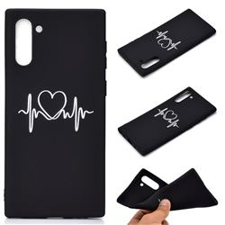 Heart Radio Wave Chalk Drawing Matte Black TPU Phone Cover for Samsung Galaxy Note 10 (6.28 inch) / Note10 5G