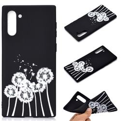 Dandelion Chalk Drawing Matte Black TPU Phone Cover for Samsung Galaxy Note 10 (6.28 inch) / Note10 5G