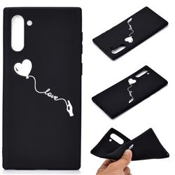 Heart Balloon Chalk Drawing Matte Black TPU Phone Cover for Samsung Galaxy Note 10 (6.28 inch) / Note10 5G