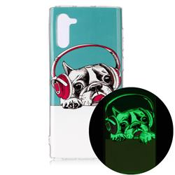 Headphone Puppy Noctilucent Soft TPU Back Cover for Samsung Galaxy Note 10 (6.28 inch) / Note10 5G