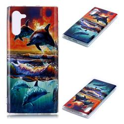 Flying Dolphin Soft TPU Cell Phone Back Cover for Samsung Galaxy Note 10 (6.28 inch) / Note10 5G
