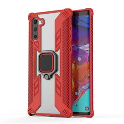 Predator Armor Metal Ring Grip Shockproof Dual Layer Rugged Hard Cover for Samsung Galaxy Note 10 (6.28 inch) / Note10 5G - Red