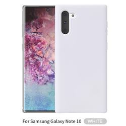 Howmak Slim Liquid Silicone Rubber Shockproof Phone Case Cover for Samsung Galaxy Note 10 (6.28 inch) / Note10 5G - White
