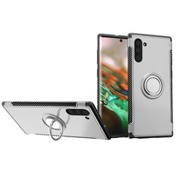 Armor Anti Drop Carbon PC + Silicon Invisible Ring Holder Phone Case for Samsung Galaxy Note 10 (6.28 inch) / Note10 5G - Silver