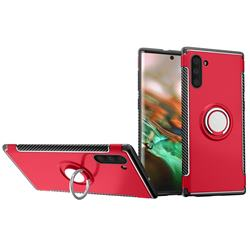 Armor Anti Drop Carbon PC + Silicon Invisible Ring Holder Phone Case for Samsung Galaxy Note 10 (6.28 inch) / Note10 5G - Red